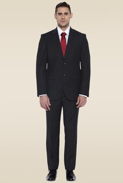 Park Avenue Black Mid Rise Notched Lapel Suit