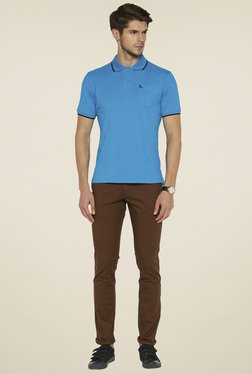 Parx Blue Cotton Regular Fit T-Shirt