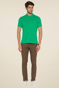 Parx Medium Green Cotton Regular Fit T-Shirt