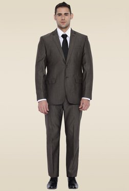Park Avenue Brown Regular Fit Mid Rise Suit