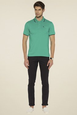 Parx Men Medium Green Cotton Solid T-Shirt