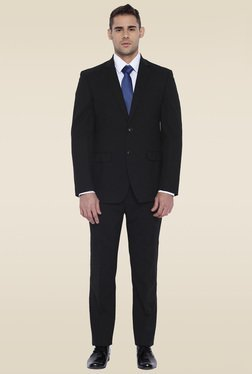 Park Avenue Black Regular Fit Notched Lapel Suit