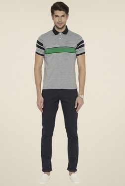 Parx Grey Melange Regular Fit T-Shirt