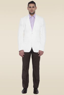 Park Avenue White Full Sleeves Jacket