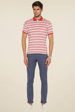 Parx Men Red Melange Striped T-Shirt