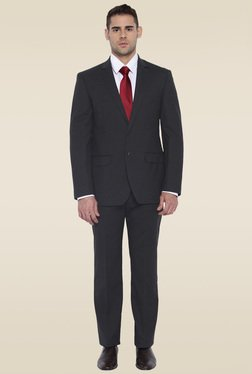 Park Avenue Dark Grey Regular Fit Mid Rise Suit