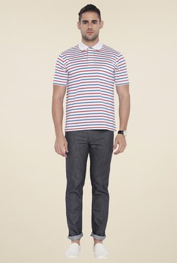 Colorplus White Half Sleeves Striped T-Shirt