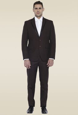 Park Avenue Dark Brown Regular Fit Suit