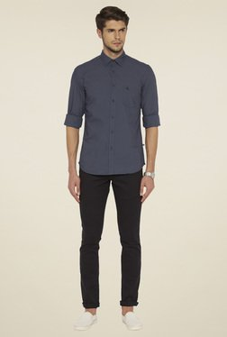 Parx Grey Slim Fit Cotton Fit Shirt