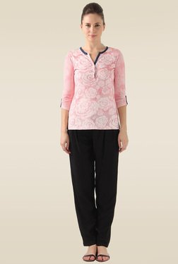 Monte Carlo Pink 3/4th Sleeves Printed Slim Fit Top