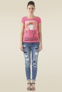 Monte Carlo Pink Round Neck Printed Top