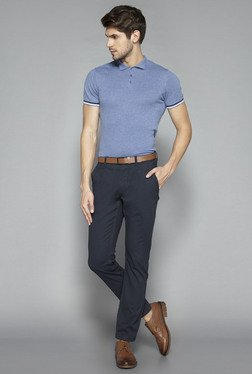 Ascot by Westside Blue Slim Fit Textured Polo T Shirt