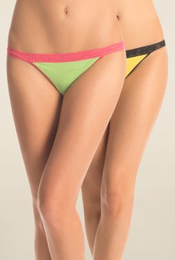 PrettySecrets Lime & Yellow Lace Panties (Pack Of 2)