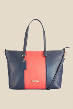 Caprese Zoe Navy & Coral Solid Shoulder Bag