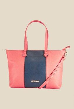 Caprese Zoe Coral & Navy Solid Shoulder Bag
