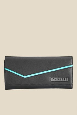 Caprese Milly Turquoise & Black Solid Wallet