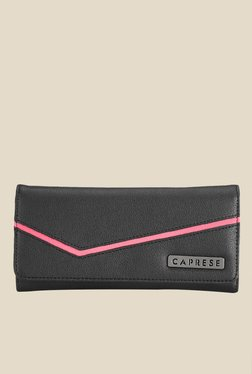 Caprese Milly Pink & Black Solid Wallet