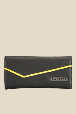 Caprese Milly Yellow & Black Solid Wallet
