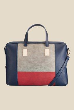 Caprese Shirine Grey & Red Solid Laptop Bag