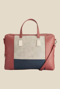 Caprese Shirine Beige & Navy Solid Laptop Bag
