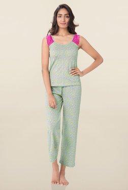 PrettySecrets Lime Heart Print Pyjama Set