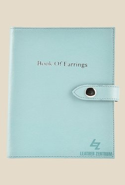 Leather Effect Aqua Solid Book Of Earrings