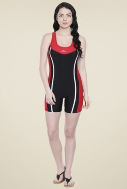 Lobster Red & Black Striped Swimwear