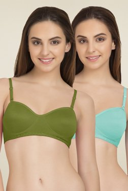 Tweens Olive & Light Blue Non Wired T-Shirt Bra (Pack Of 2)