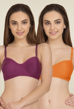 Tweens Orange & Magenta Non Padded T-Shirt Bra (Pack Of 2)