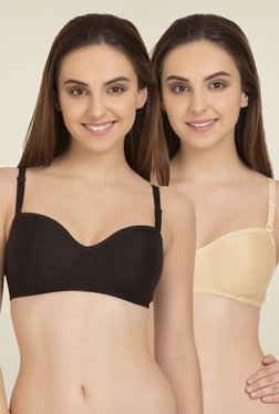 Tweens Beige & Black Non Padded T-Shirt Bra (Pack Of 2)