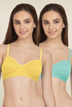 Tweens Yellow & Sea Green Non Padded T-Shirt Bra (Pack Of 2)