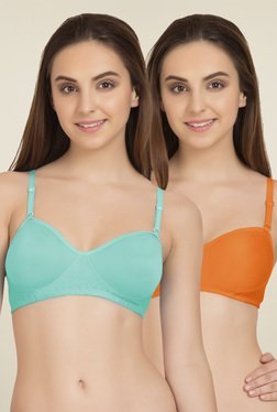 Tweens Orange & Light Blue Cotton T-Shirt Bra (Pack Of 2)