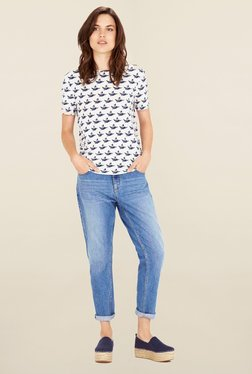 Warehouse Off White Printed Top