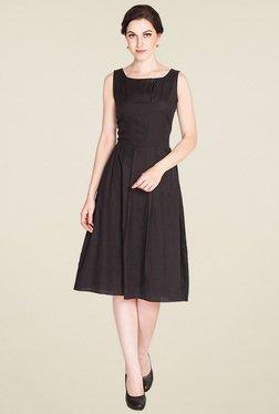 Drapes & Silhouettes Black Sleeveless Regular Fit Dress