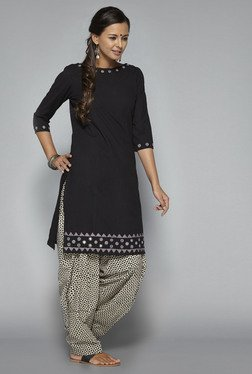 Okhai Black Indian Night Embroidered Kurti