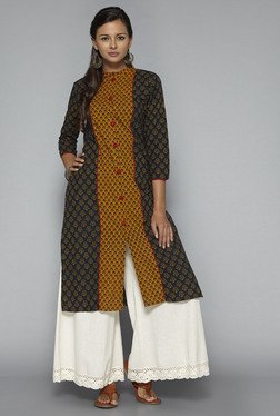 Okhai Mustard & Navy Winter Flower Printed Kurta