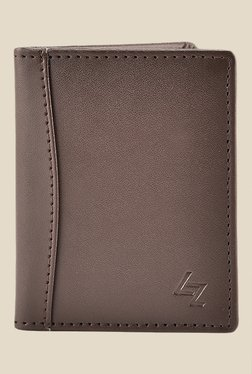 Leather Effect Brown Solid Card Holder