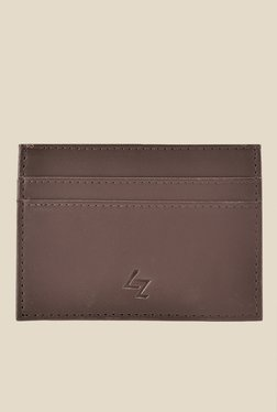 Leather Effect Brown Solid Card Holder - Mp000000001058236
