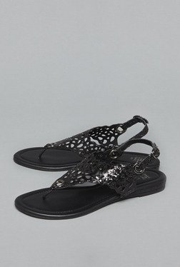 Head Over Heels by Westside Black Laser Cut Sandals