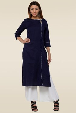 Homa Navy Boat Neck 3/4th Sleeves Kurta