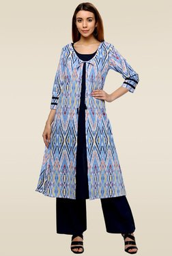Homa Multicolor 3/4th Sleeves Regular Fit Round Neck Kurta
