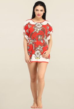 N-Gal Red Printed Beachwear