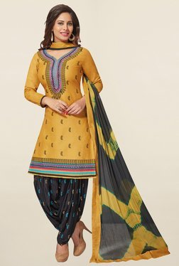 Ishin Mustard & Black Embroidered Cotton Dress Material