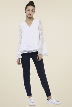 Femella White V Neck Regular Fit Top