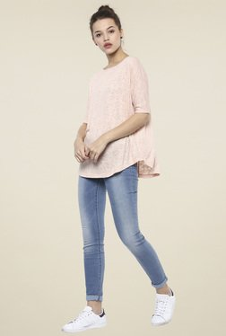 Femella Light Pink Cotton Boat Neck Top