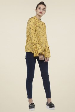Femella Yellow Printed Top