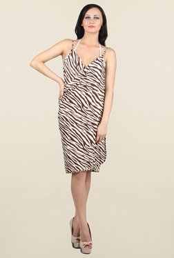 N-Gal Brown & Off White Animal Print Sarong