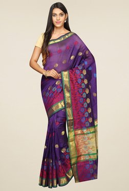 Pavecha Purple Banarasi Zari Saree With Blouse