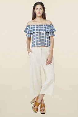 AND Blue Checks Crop Top