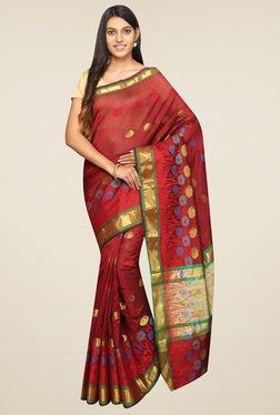 Pavecha Maroon Banarasi Zari Saree With Blouse